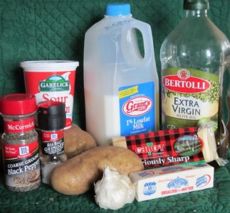 The ingredients for twice baked potatoes