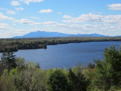 The view from scenic view of Mount Katahdin and Salmon Stream Lake