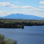 The view looking across Salmon Stream Lake at Mount Katahdin just north of Medway, Maine