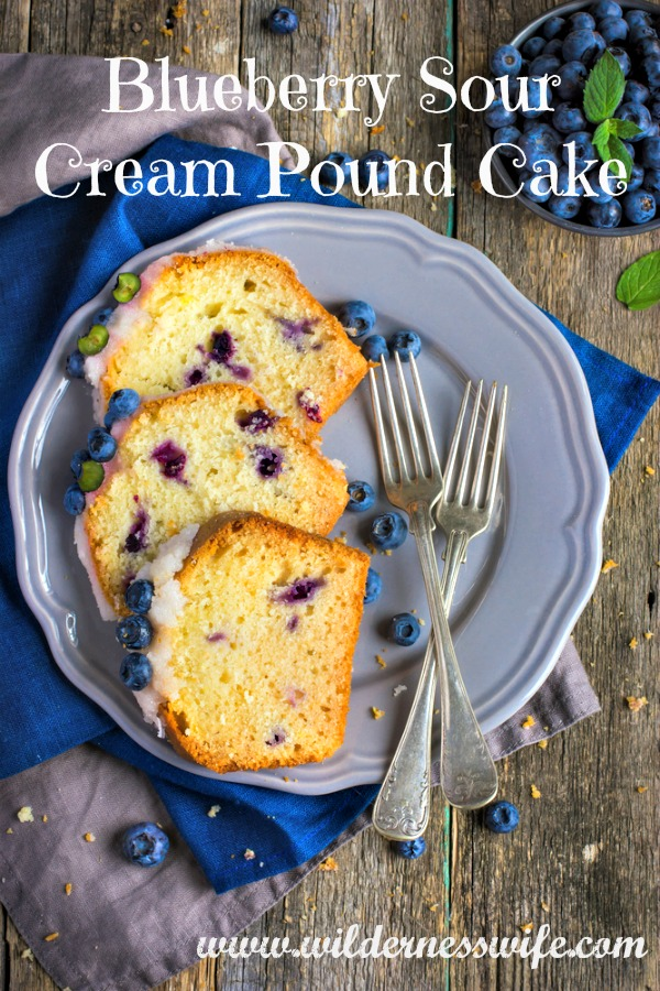 3 slices of moist delicious Blueberry Sour Cream Poundcake made with fresh Maine Blueberries