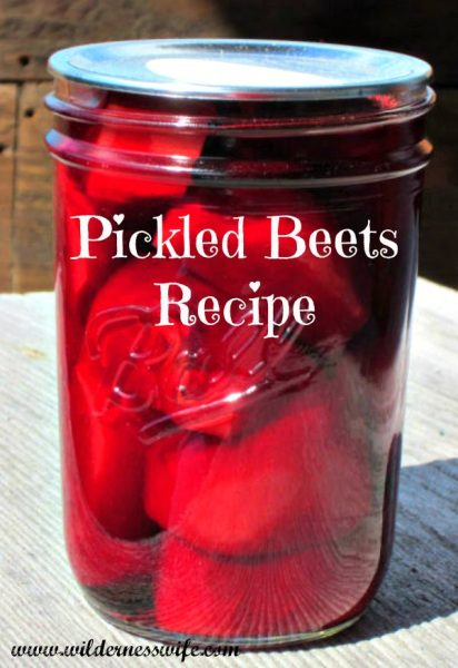 A glistening jar of ruby red pickled beets that I made using my easy pickled beets recipe.