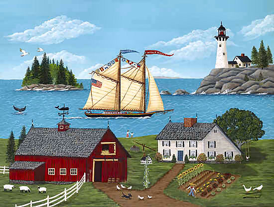 Maine Coast Picture showing Maine Windjammer, Maine Saltwater Farm, and Maine Coast.