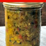 This tasty zucchini relish recipe is my favorite condiment and helps me use up all those huge zucchini from the garden.
