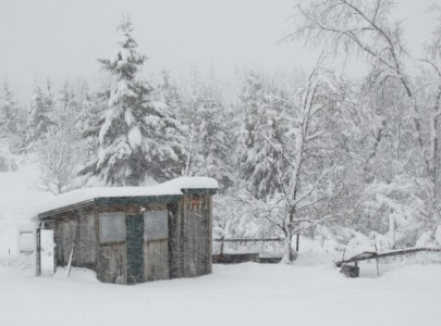 Mount Katahdin, chicken house in snowstorm, blizzard of 2013 in Maine