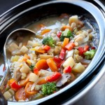 Slow Cooker Chicken Soup simmering in a crockpot