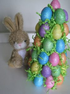 Using a styrofoam cone to make an Easter Egg Tree