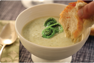 fiddlehead soup, fiddleheads, how to cook fiddleheads, fiddlehead recipes, recipe
