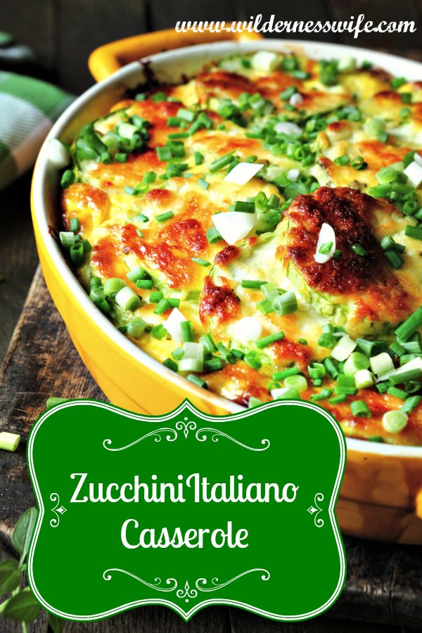 Slow Cooker Zucchini Italiano Casserole in a yellow casserole dish. This recipe can be cooked in a crockpot or slow cooker.