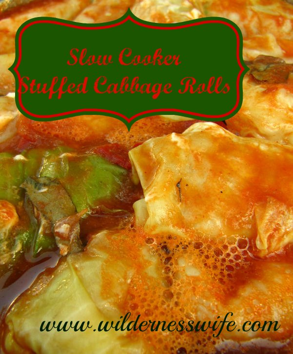 Cabbage Rolls are easy to cook in the slow cooker.  Just let them simmer away and when meal time rolls around - voila - yummy supper!