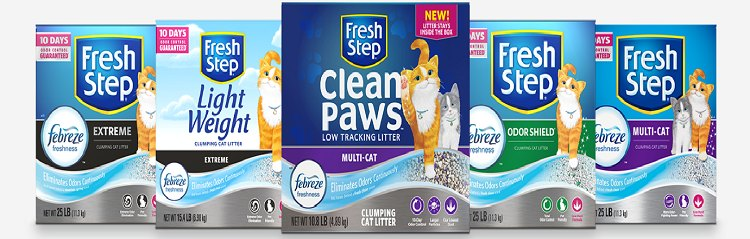 Fresh Step Kitty litters offers a number of choices in Cat Litter -all with odor fighting Febreeze