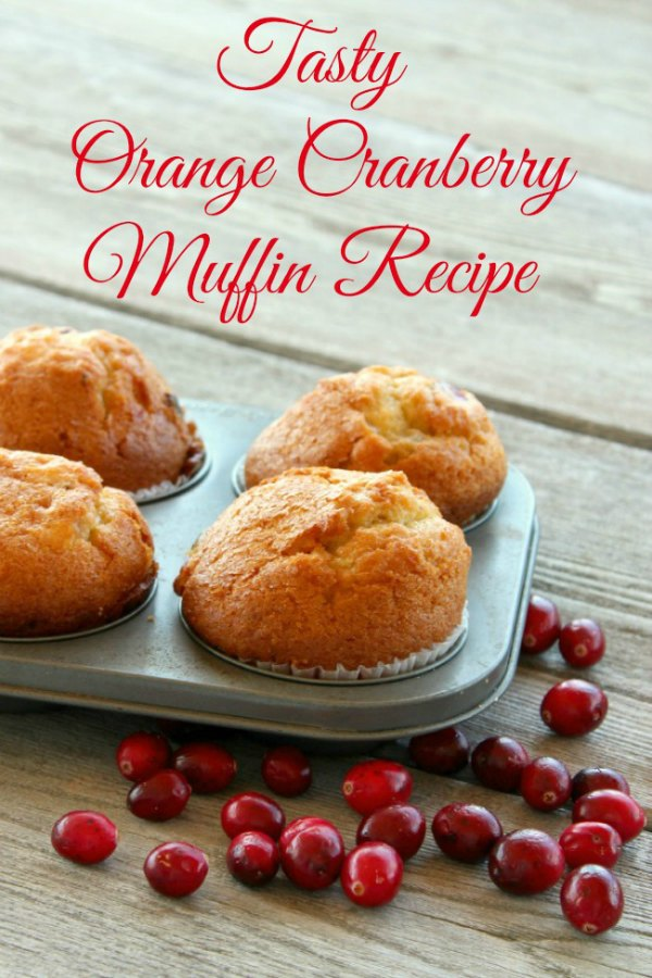 Baking tin loaded with delicious Orange Cranberry Muffin on a gray driftwood table with fresh cranberries sprinkled around the muffin tin.