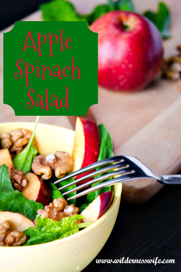 A delicious apple spinach salad recipe with the spinach, apple, walnut combination in a white bowl. Red apple on cutting board in background.