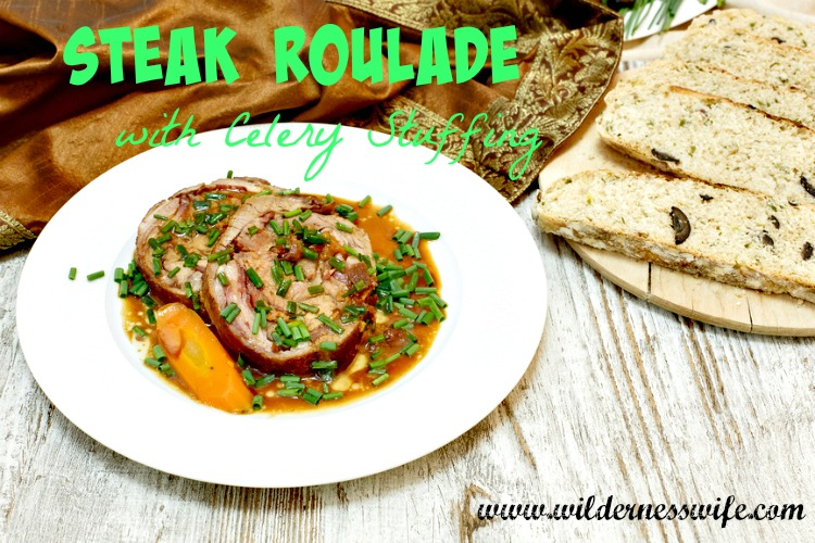 steak roulade recipe, celery stuffing, steak recipe, beef recipe