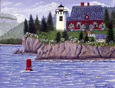 Folk art, Grammy Mouse, Bear Island Lighthouse, Maine lighthouse, Maine, Bar Harbor