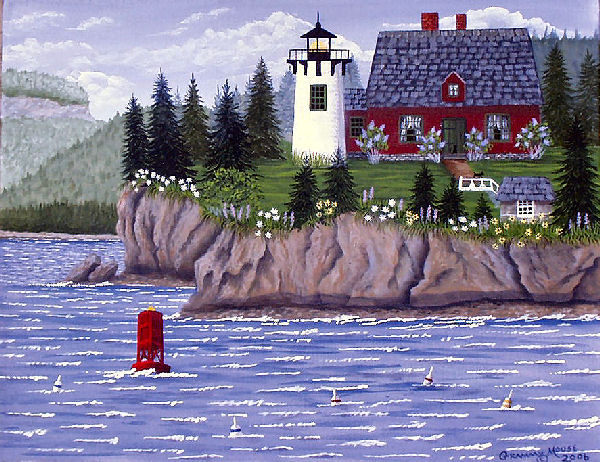 Folk art, Grammy Mouse, Bear Island Lighthouse, Maine lighthouse, Maine, Bar Harbor