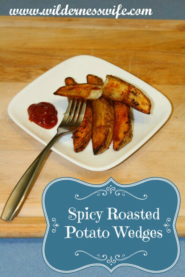 Spicy Roasted Potato wedges on a white plate with a helping of chile sauce for dipping