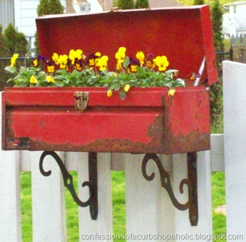 Garden decor, container gardening, recycled garden decorations, container gardens