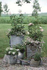Garden decor, container gardening, recycled garden decorations