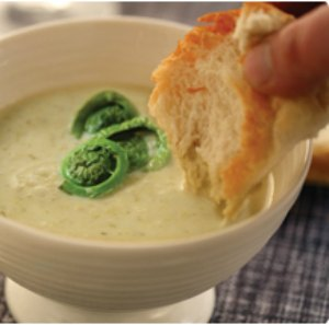 Bowl of Cream of Fiddlehead Soup