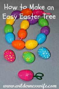 How to make an easy Easter Egg Tree with your children - make an Easter Egg Garland too.