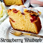 Delicious strawberry rhubarb bread with glaze sliced on a plate. This best moist strawberry rhubarb bread recipe makes a great treat for a Mother's Day brunch