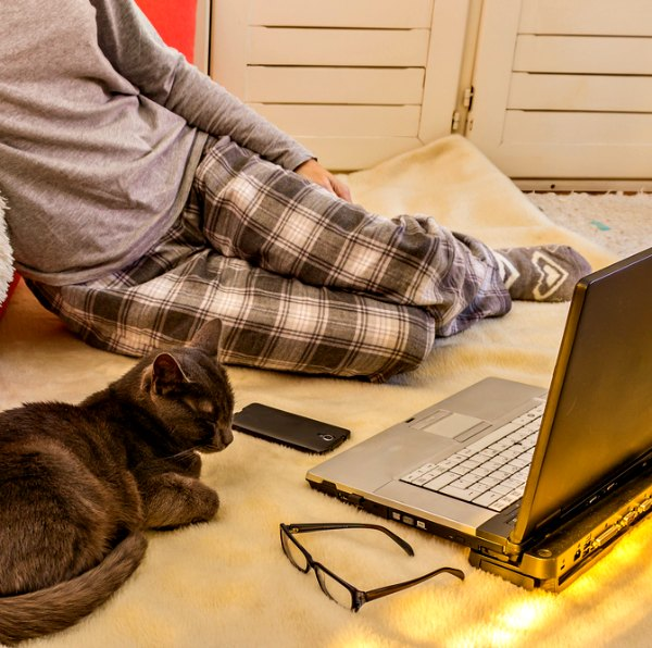 Blogging for money is a great work from home job. You can even do it in your pajamas!
