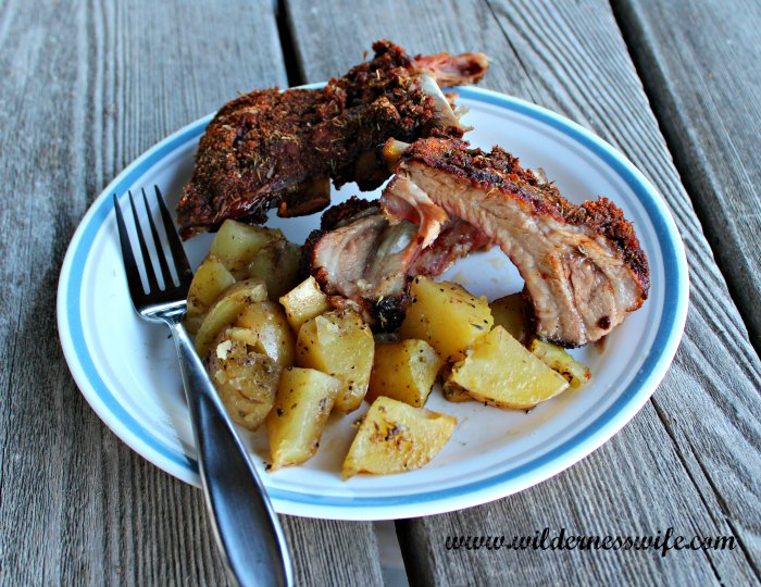 Plate of Smithfield®Extra Tender Pork Back Ribs with herbed potatoes