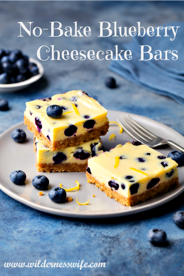 No Bake Blueberry Cheesecake Bars on a plate with a hint of grated lemon zest sprinkled on top