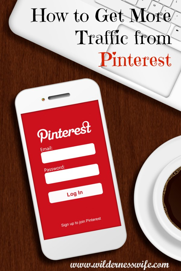 Smartphone searching Pinterest. We show you how to get more traffic to your blog or website from Pinterest.