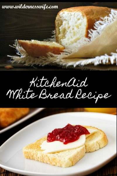 Delicious slice of white bread slathered with raspberry jam made from the KitchenAid Basic White Bread Recipe.