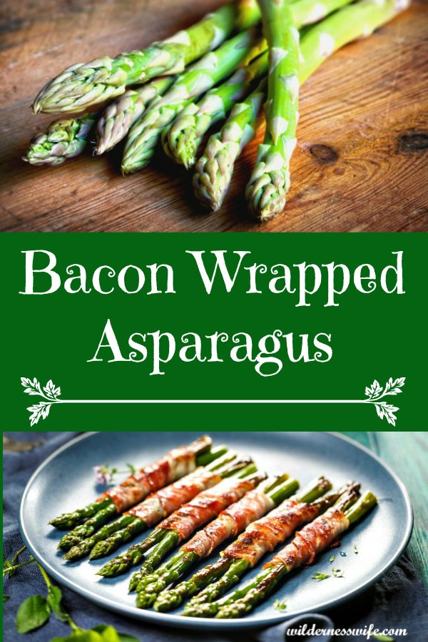 Bacon Wrapped Asparagus served on a blue stoneware platter.