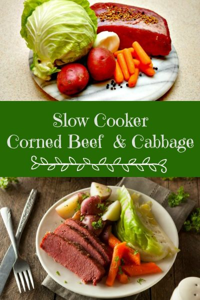 All the ingredients for a Corned Beef and Cabbage dinner cooked in your slow cooker.  This recipe creates a tender, moist, and delicious roast brisket.