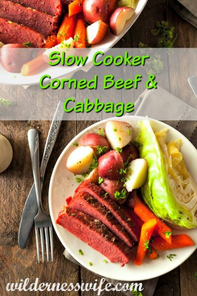 A plate full of slow cooker corned beef and cabbage right out of your crockpot.