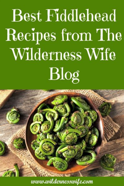 Wooden bowl filled with fiddlehead ferns ready for use in The Wilderness Wife Blog Fiddlehead recipes.