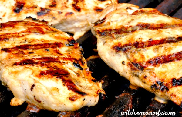 Marinated boneless chicken breasts grilling on a gas grill. They were marinated in my best grilled chicken marinade that is so easy as it has just 2 ingredients - beer and olive oil.