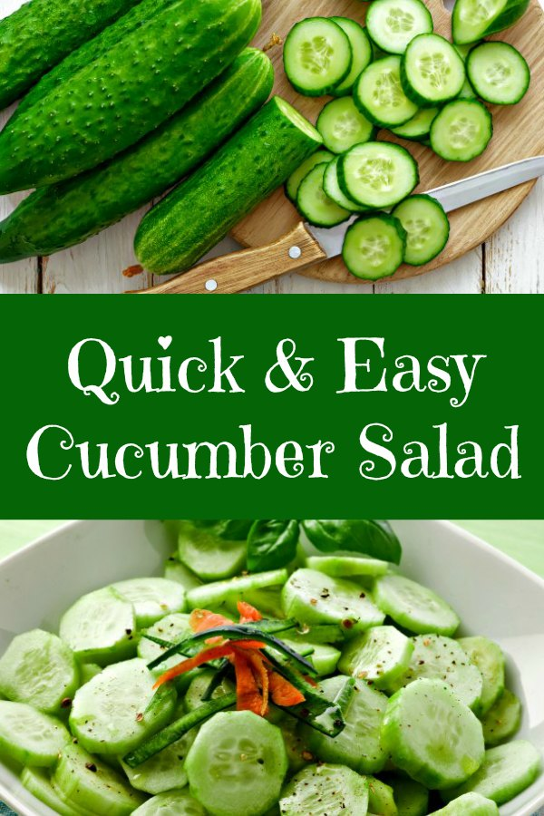 Collage of cucumbers on a cutting board and quick & easy cucumber salad garnished with basil and julienne carrots