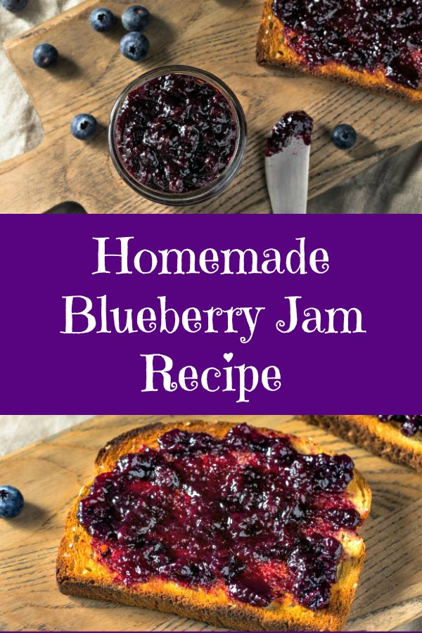 picture of jar of blueberry jam and a piece of toast slathered with blueberry jam on a wooden cutting board
