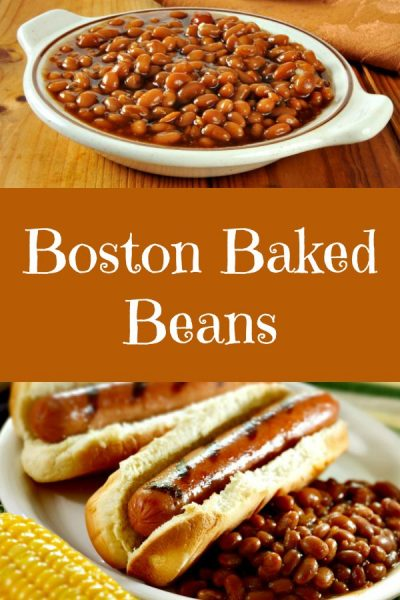 Boston Baked Beans on a white plate with two hot dogs in buns covered with mustard