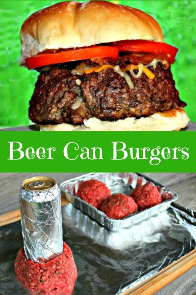"Beer Can Burger stuffed with toppings and hamburger being formed into a ""Beer Can Burger"""
