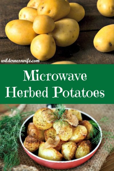 Microwave Herbed Potatoes in a bowl on a piece of burlap with a sprig of dill