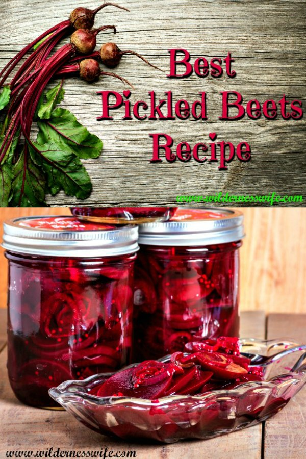 Beets fresh from the garden resting on a cutting board and jars of canned pickled beets in back of a glass dish full of sliced pickled beets.