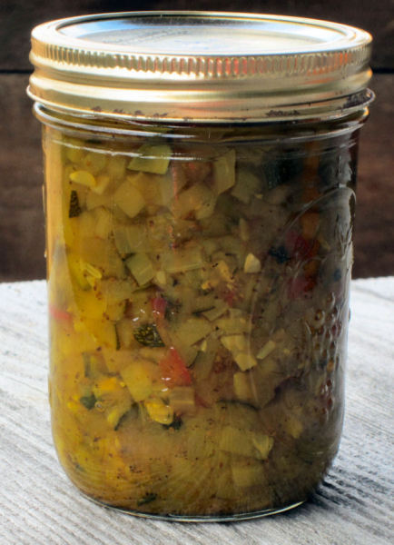 This zucchini relish recipe I got from my Pastor's wife, Jo and it is a tasty one. It is certainly a great way to use up all the bounty of zucchini from your garden and all the zucchini gifts from wee intending gardening friends. Of all my zucchini recipes this one is my favorite.