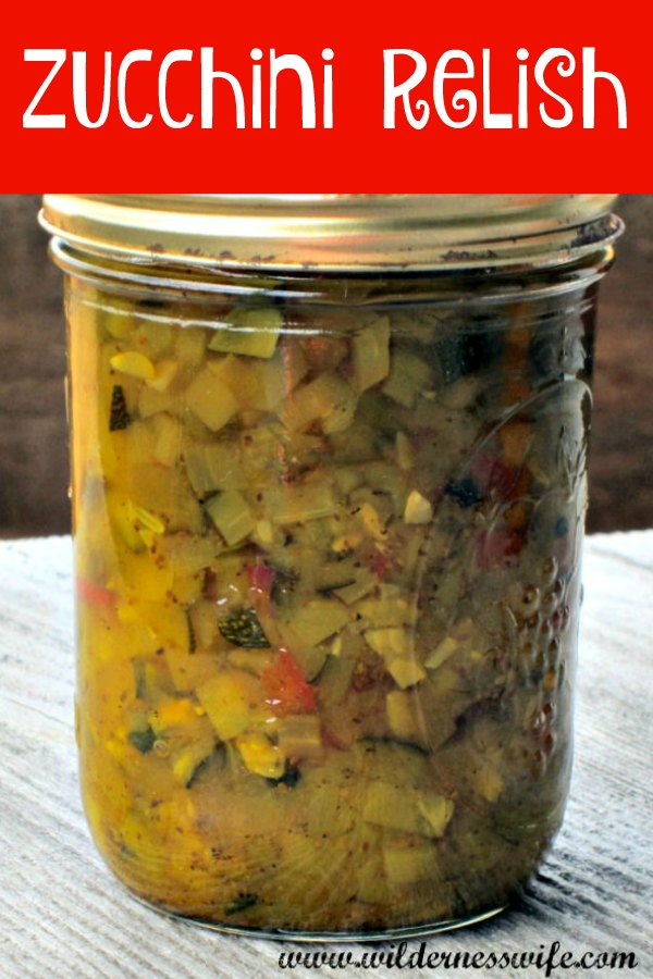 A canning jar filled with Sister Jo's Zucchini relish.