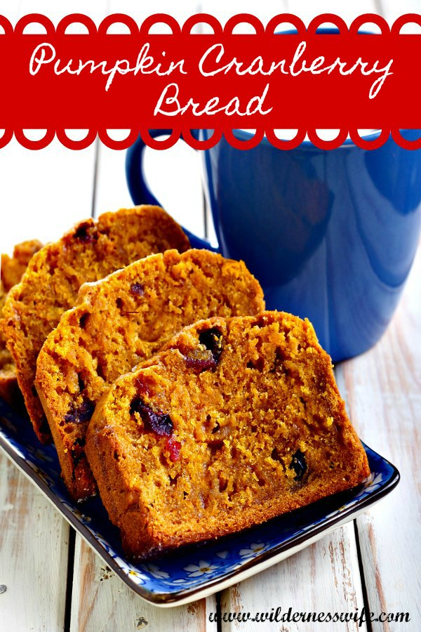 Slices of warm pumpkin cranberry bread on a dark blue plate with a cup of steaming coffee