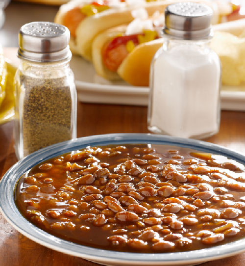 Boston Baked Beans on a grey plate