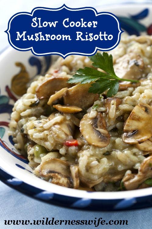 mushroom risotto, risotto, slow cooker recipe