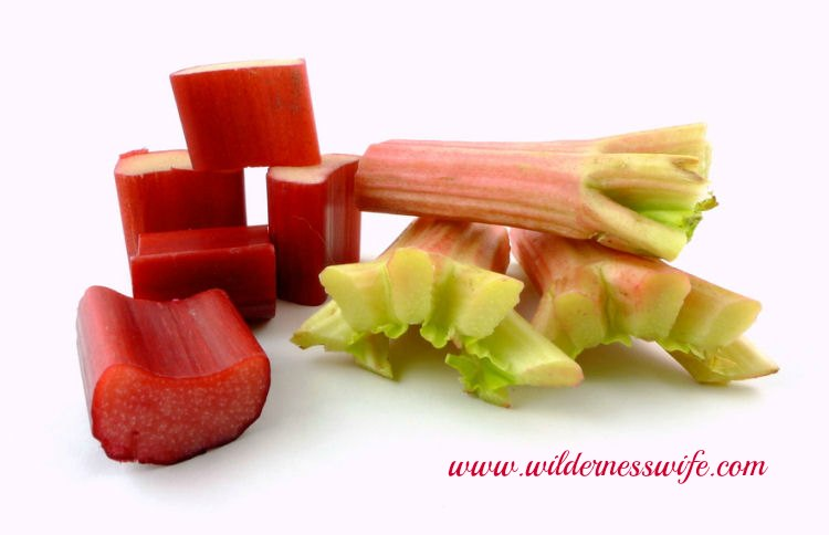 Rhubarb cut into 1 inch pieces ready for the freezer or use in this easy rhubarb crumble recipe