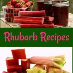 Rhubarb recipes including jam, rhubarb bread, rhubarb cobbler, and strawberry rhubarb pie