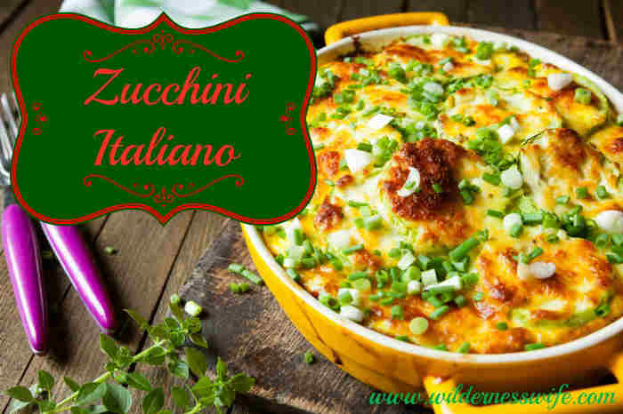 zucchini italiano casserole on wooden tabletop
