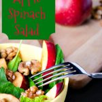 A delicious apple spinach salad recipe that is oh so tasty but also very healthy with the spinach, apple, walnut compnination. Great anytime you are serving pork roast or pork chops. And it is a delicious addition to a summer meal. Use eating apples like MacIntosh, Yellow Transparent, and Galas for this salad.